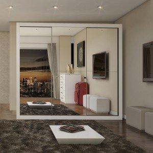 6888116855a6a Guarda Roupa Casal com Espelho 3 Portas de Correr Flórida Siena Móveis  Branco