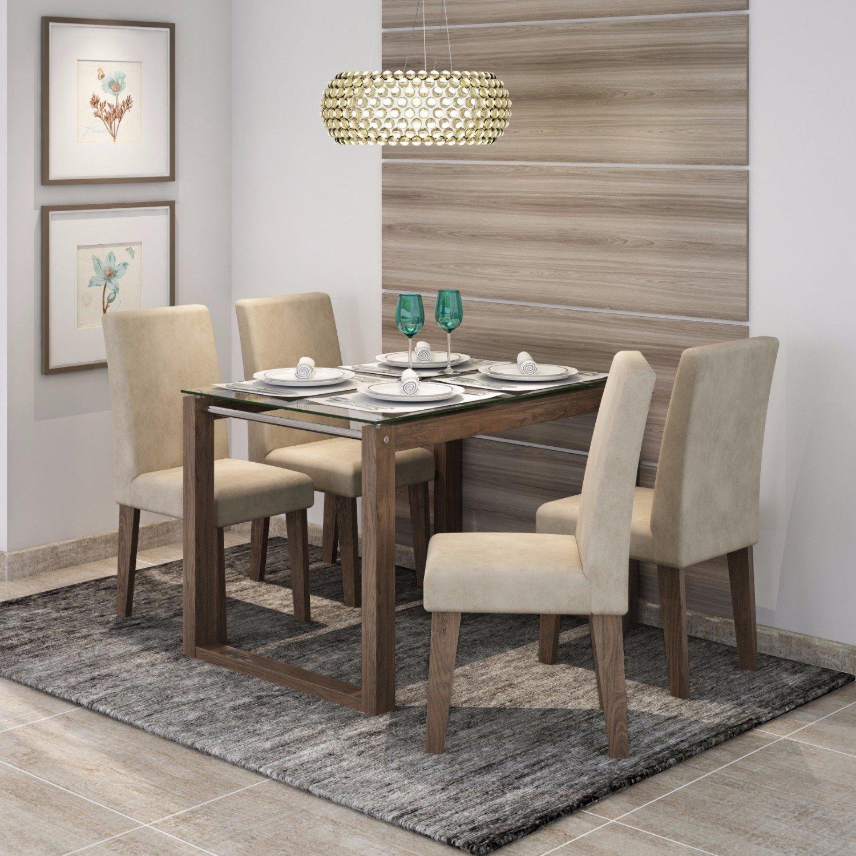 Conjunto Sala De Jantar Mesa Tampo Em Vidro Anita 4 Cadeiras Milena