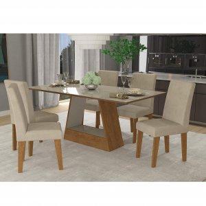 8620f7e69 Conjunto Sala de Jantar Mesa Alana 6 Cadeiras Milena Cimol