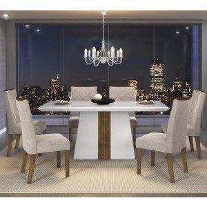 Conjunto Sala de Jantar Mesa Itália 6 Cadeiras Golden Dj Móveis ... 5e9ff425a20