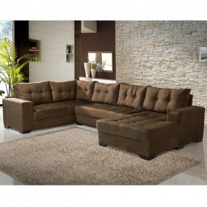 Sof 2 lugares com chaise bia imp rio estofados chocolate for Sofa de canto 8 lugares