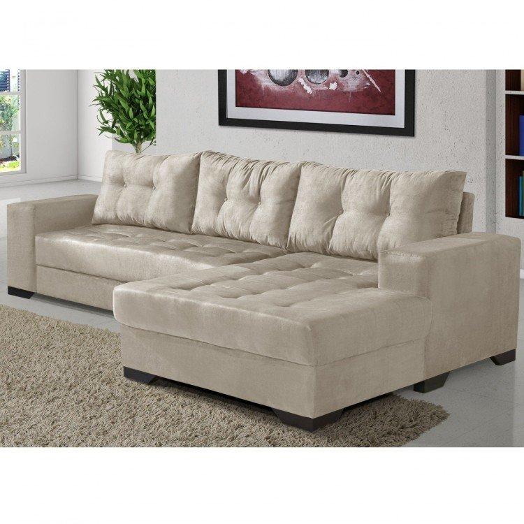 Sof 2 lugares com chaise bia imp rio estofados areia em for Tipos de sofas clasicos
