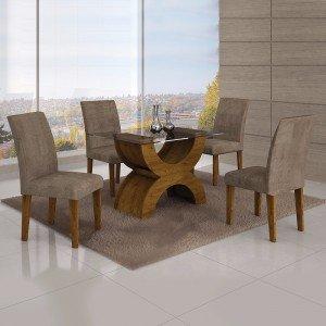 b70ebc558c Conjunto Sala de Jantar Mesa com Tampo de Vidro e 4 Cadeiras Atuale ...