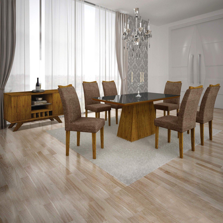 Sala De Jantar Completa Com Mesa Tampo Mdfvidro 6 Cadeiras E