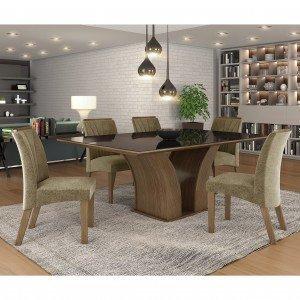 Conjunto Sala de Jantar Mesa Tampo MDF Vidro 6 Cadeiras Leblon Siena Móveis e1c2b68f60534