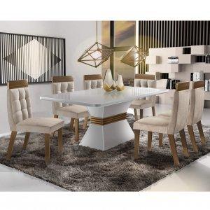 146f86f03 Conjunto Sala de Jantar Mesa Tampo em Vidro 6 Cadeiras Dafne Móveis ...