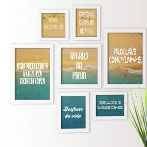 Kit De Quadros Decorativos 7 Peças Frases Praia Surf Regras Los