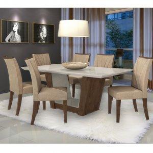 Conjunto Sala de Jantar Mesa Tampo MDF 6 Cadeiras Apogeu II Móveis Lopas 0c4e7f0fdd5bc