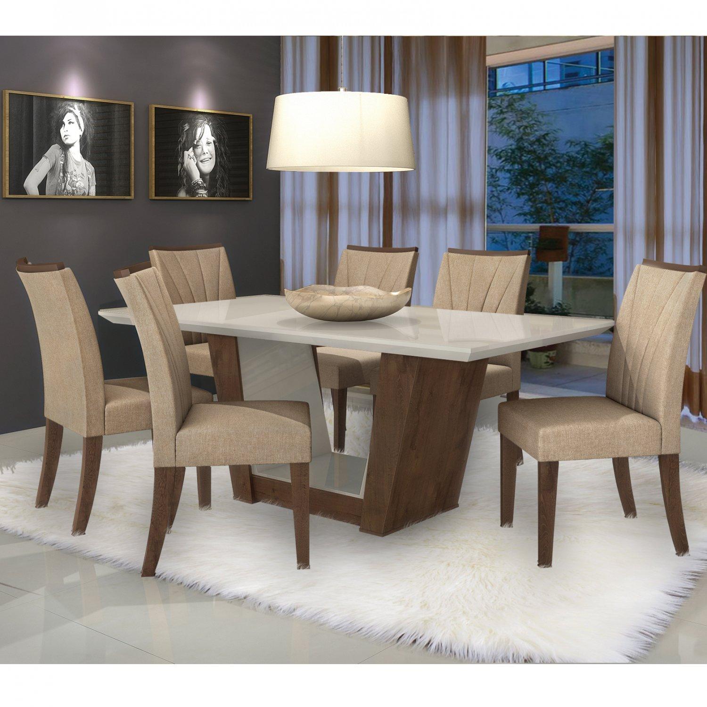Conjunto Sala De Jantar Mesa Tampo Mdf 6 Cadeiras Apogeu Ii Móveis