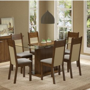 Conjunto Sala de Jantar Mesa 6 Cadeiras Atlanta Madesa 2889f55e3dcee
