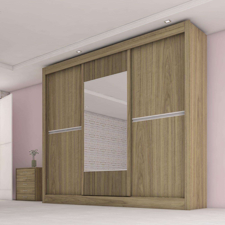 Guarda Roupa Casal com Espelho 3 Portas Ipê Plus Móveis Europa  Caramelo Creme 4c392c64d5