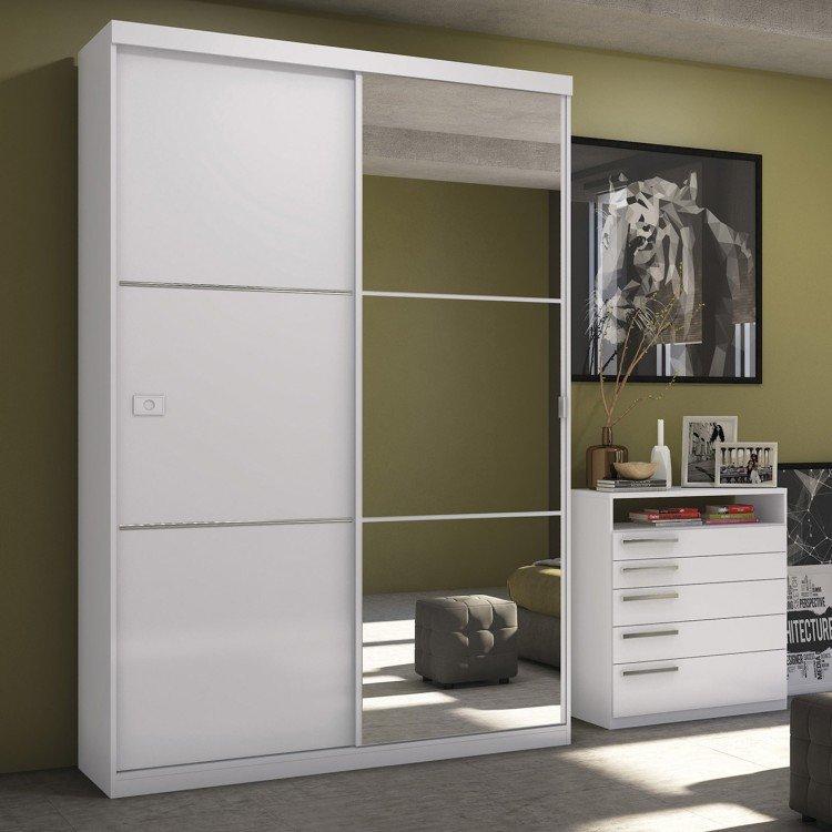 Interior Armario Kvikne Ikea ~ Guarda Roupa Solteiro Com Espelho 2 Portas De Correr S742 Kappesberg Branco em Guarda Roupas na