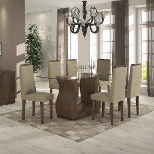 Conjunto Sala de Jantar Mesa Tampo Vidro Dafne 6 Cadeiras Dafne Móveis Lopas 381d9e7f09a27