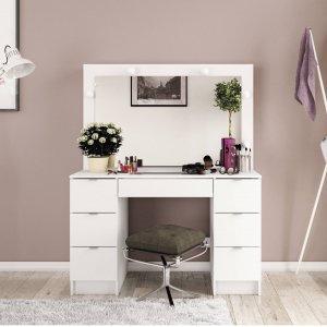 penteadeira de parede com espelho 2 gavetas aruj politorno madeiramadeira. Black Bedroom Furniture Sets. Home Design Ideas