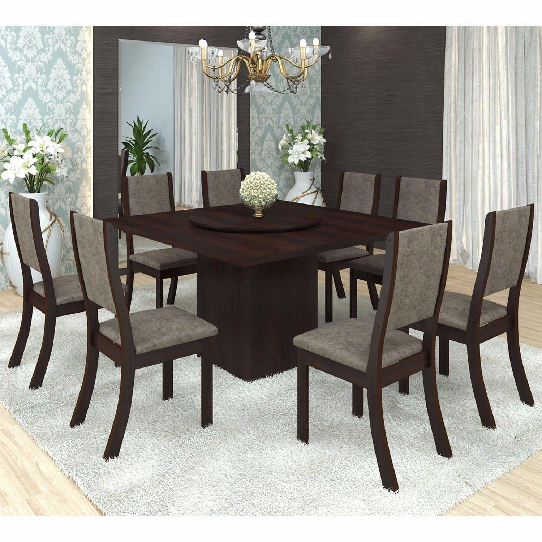 Conjunto Para Sala De Jantar Mesa E 8 Cadeiras Viero Lara Choco