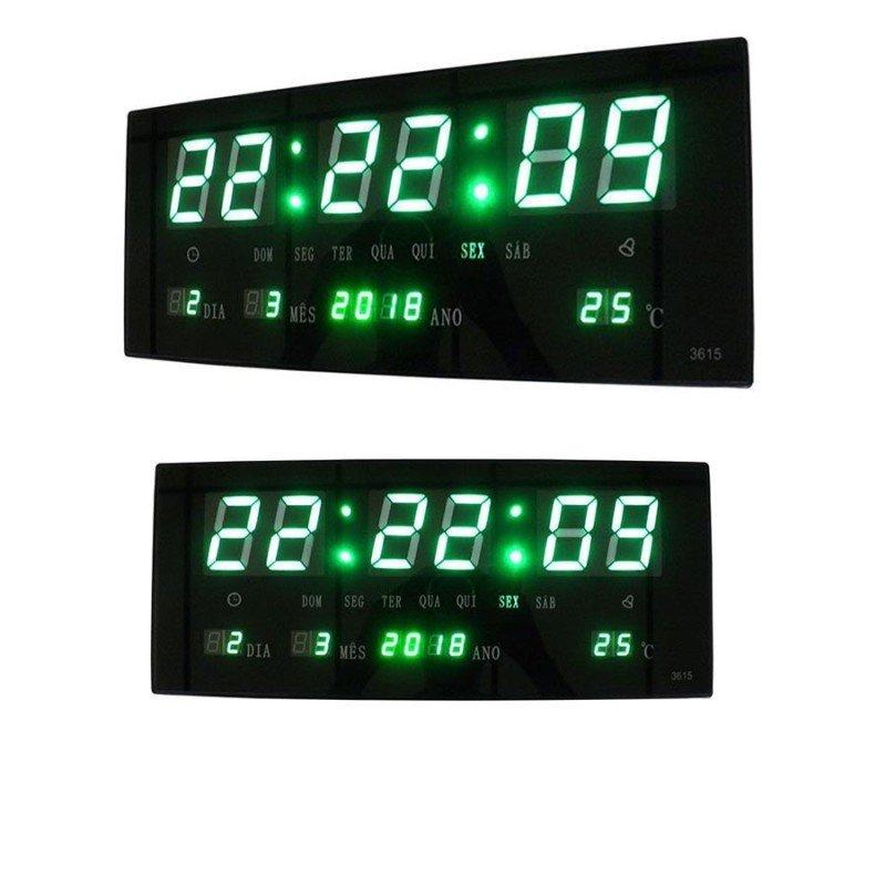 f3a00f0162c Relogio Digital Sensor Som Alarme Termometro Madeira Voice Control ...