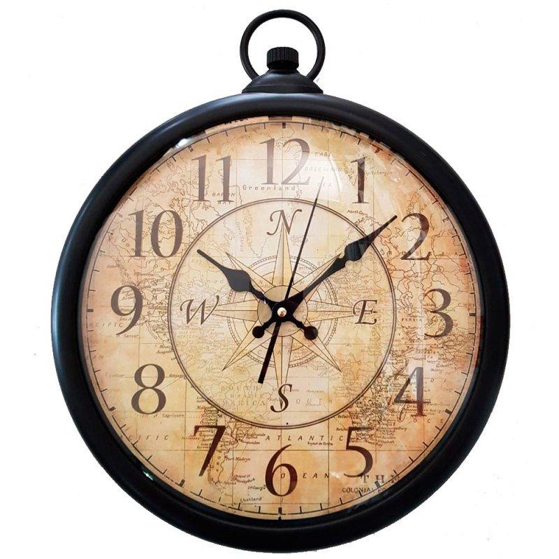 86c09ca9865 Relógio De Parede Vintage Bússola Preto PRETA - MadeiraMadeira