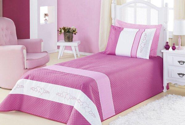 bfe0146316 Kit Cobre Leito Meninas (Cobre Leito + Porta Travesseiro) Solteiro Angel  Coração Bordado Rosa
