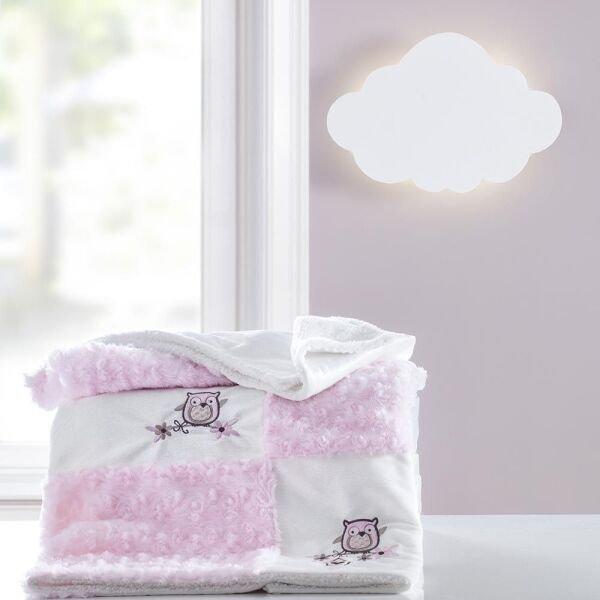 f9d0f7996b Cobertor Patchwork bordado Yupi Coruja rosa