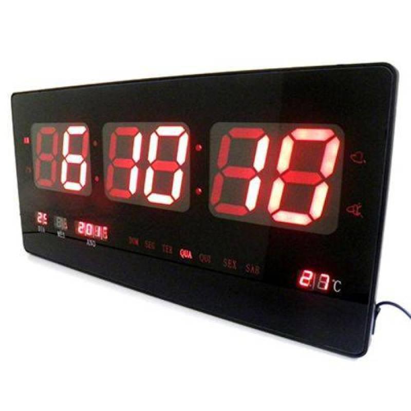 674f6c9f412 Relogio Parede Digital Led Com Alarme Data Termometro Calendario Grande