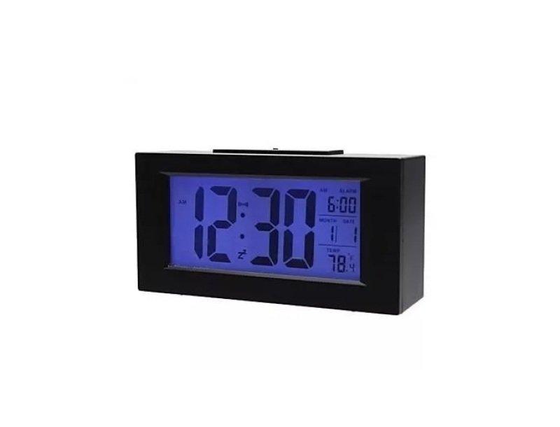 5b7ed35cd48 Relógio Digital Preto Grande Alarme Hora Luz Temperatura ...