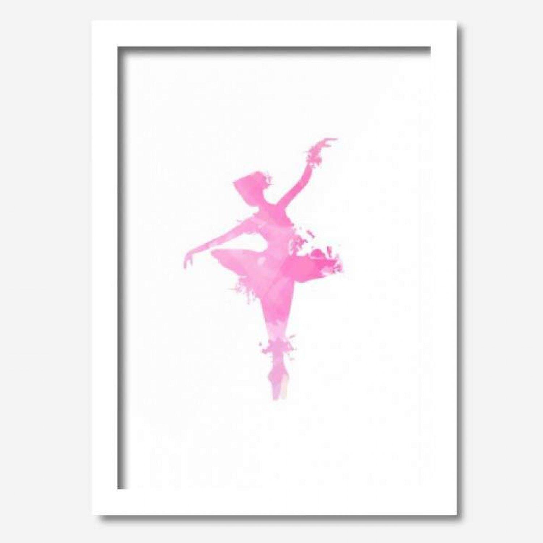 600eb8e85a Quadro Decorativo Bailarina Dançando 33cmx24cm Los Quadros Branco ...