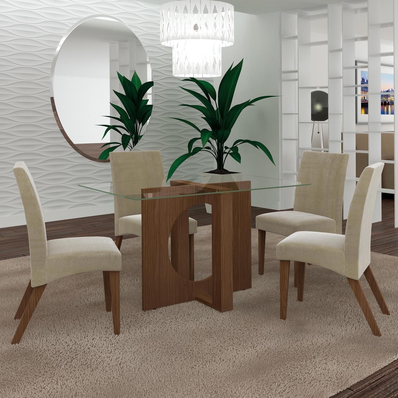 b577250e59 Conjunto Sala de Jantar Mesa com Tampo de Vidro e 4 Cadeiras Atuale LJ  Móveis Castanho Bege