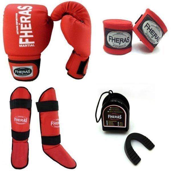 f9b16c4b1 Kit Boxe Muay Thai Fheras Luva Caneleira Bandagem Bucal Vermelho 08 ...