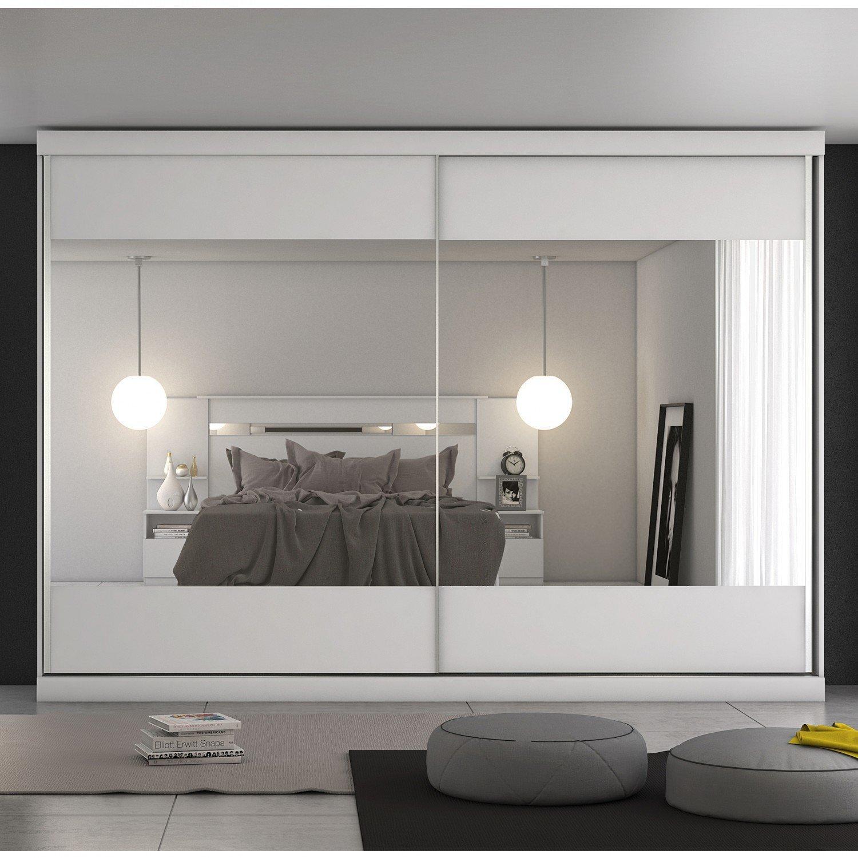 7bf67bdad Guarda Roupa Casal com Espelho 2 Portas de Correr Modena Móveis Europa  Branco Acetinado