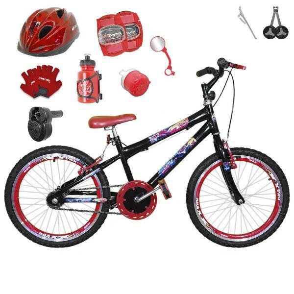 edc2c5f11 Bicicleta Infantil Aro 20 Preta Kit E Roda Aero Vermelha C  Capacete ...