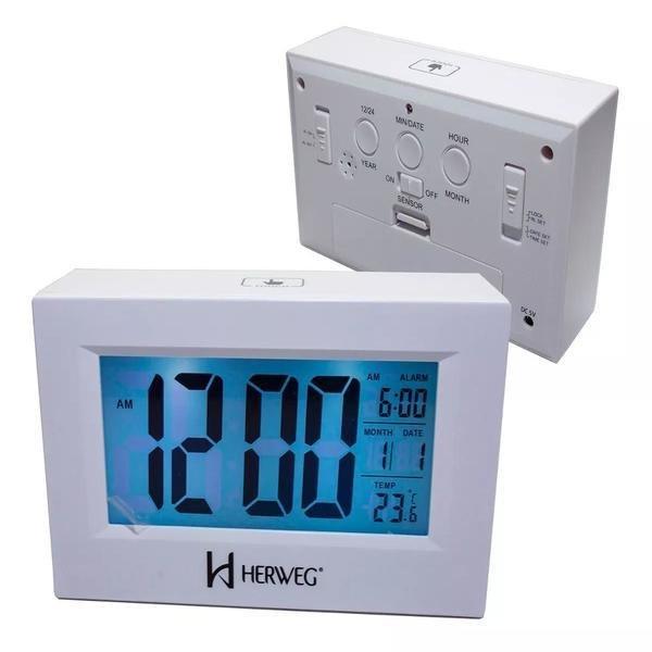 c7d79861dfe Relógio 2972 Despertador Digital Branco Luz Led Herweg - MadeiraMadeira