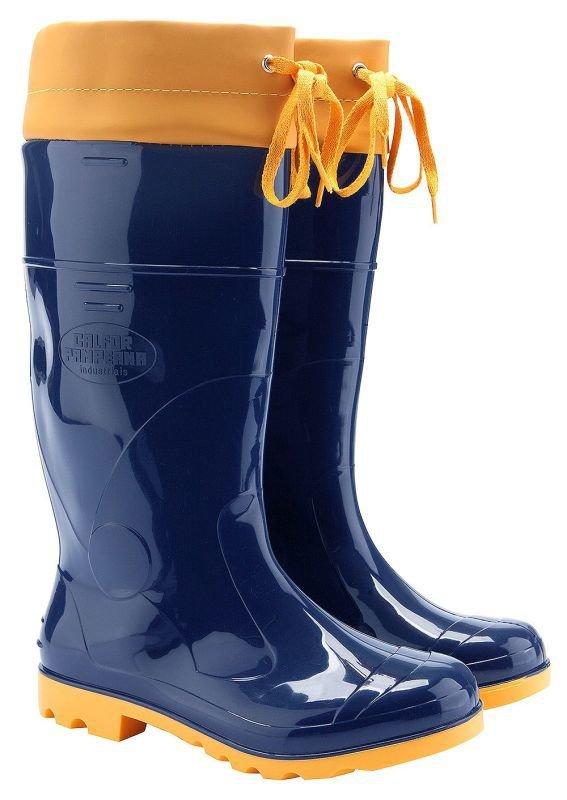 3b0a121a7e4 Bota Borracha Pvc Impermeável Azul amarela C amarra Galocha - Amarelo    Azul -