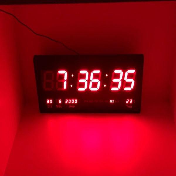 c8d8ab80535 Relógio Led Digital 3615 Vermelho Parede Alarme Calendário ...