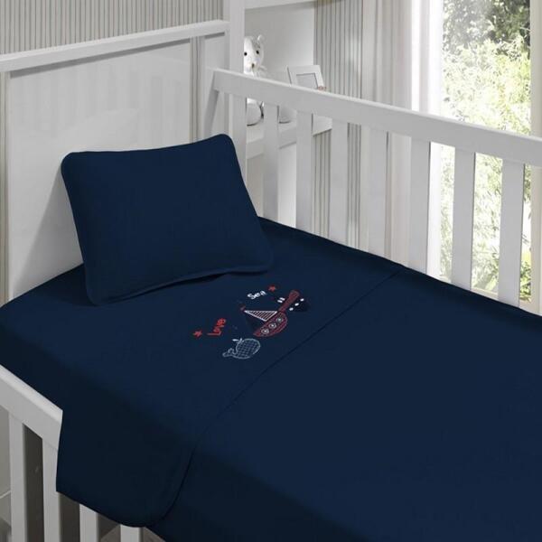 39e68d47ea Jogo de lençol menino Kinder Bordado Naval 90cm x 1.70m Azul Marinho ...