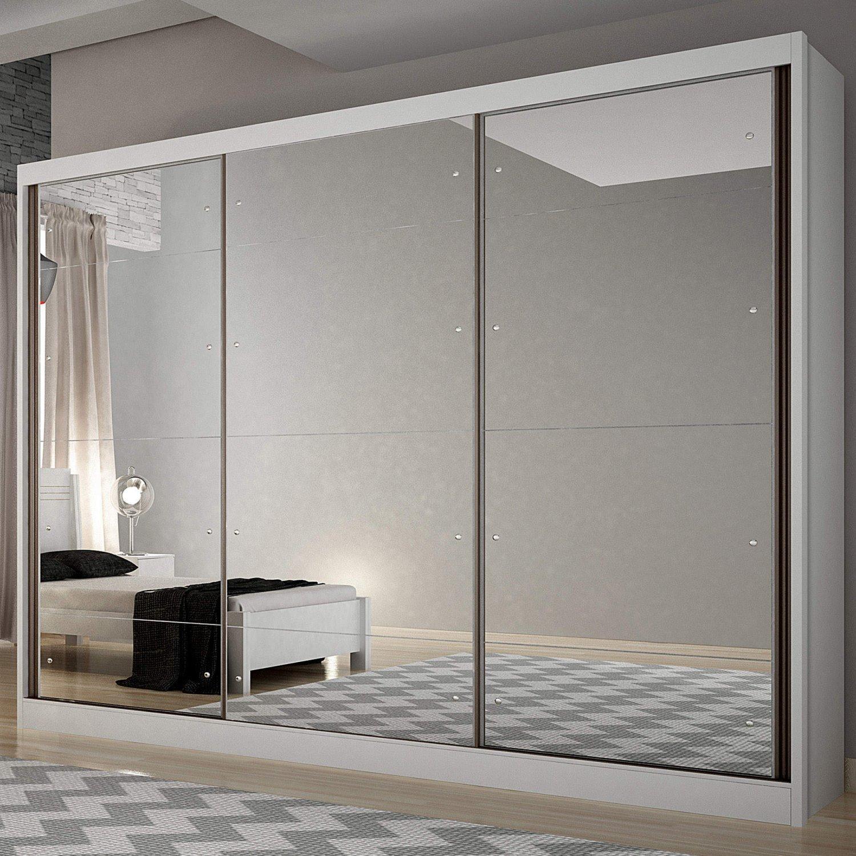 011befaddb5ac9 Guarda Roupa Casal com Espelho 3 Portas 6 Gavetas Passion Siena Móveis  Branco