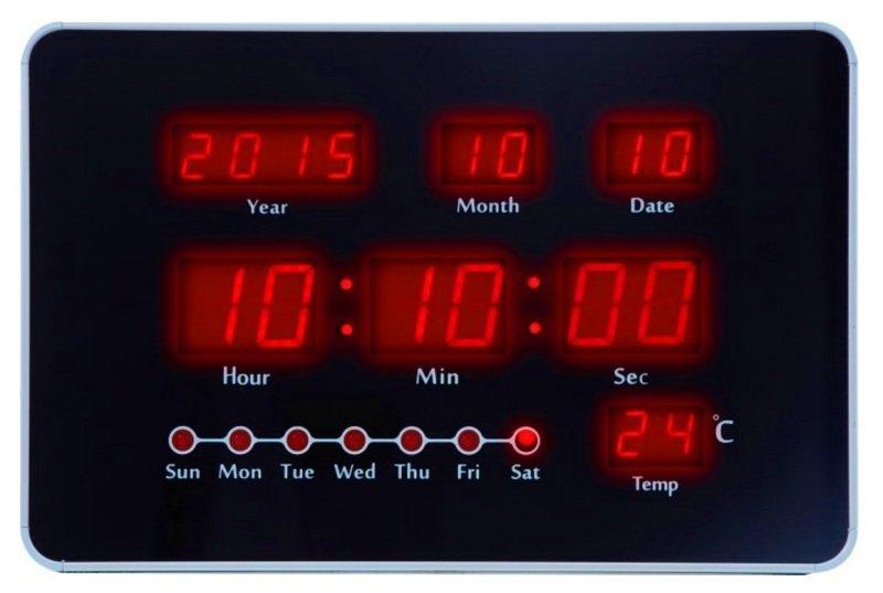 8844ec09f1a Relógio de Parede Digital Led Vermelho Termômetro Herweg ...
