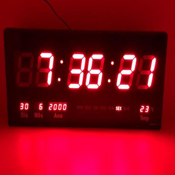 120c06a9ec0 12%. OFF. Relógio Led Digital 3615 Vermelho Parede Alarme Calendário