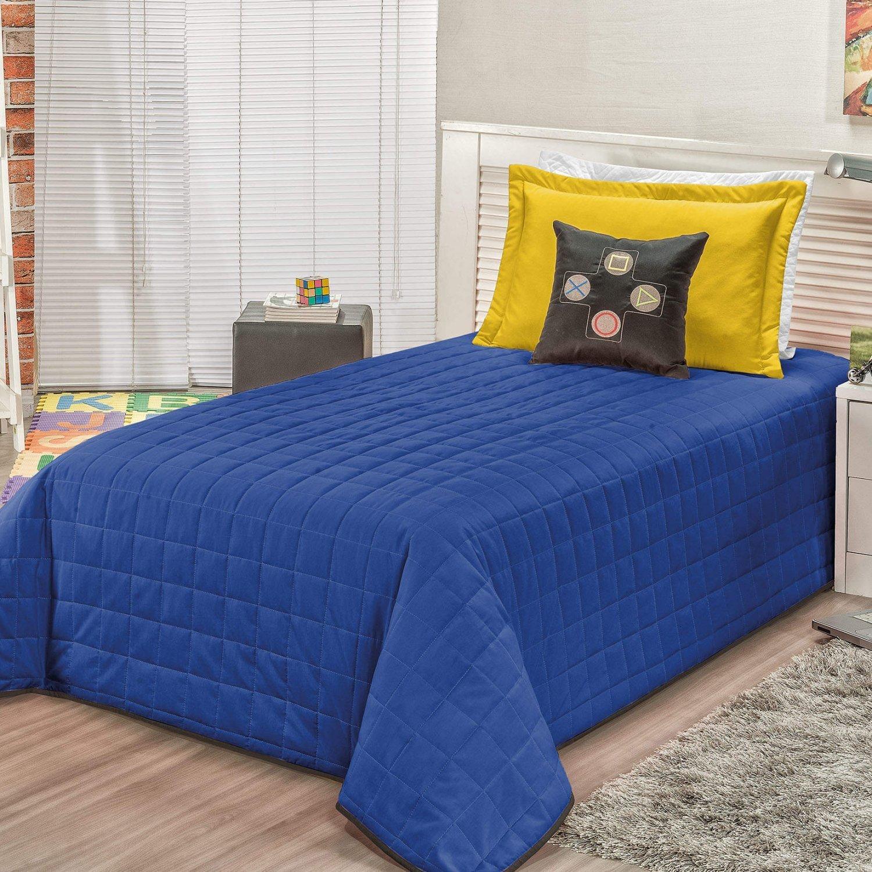 87350db9e4 Kit Colcha Infantil Game 5 Peças Bia Enxovais Amarelo Azul ...