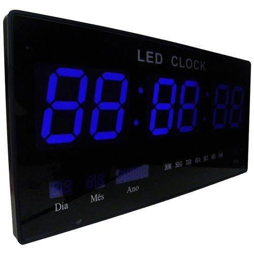 611a6d6d3e0 Relógio De Parede Digital LED 46CM Bivolt Data Termometro Azul (4600B)
