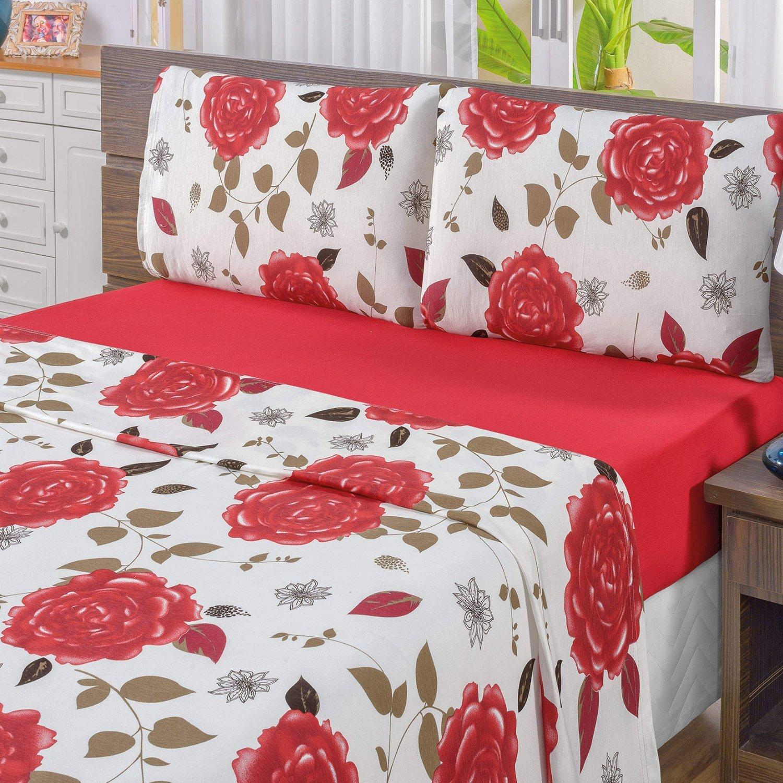 8be0656e08 Jogo de Cama Queen Malha 3 Peças Quality Bia Enxovais Vermelho ...