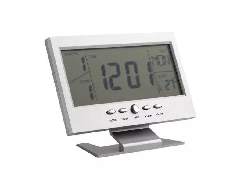 f9c53d25588 Relogio Digital Sensor Som Alarme Termometro Madeira Marrom (JA80601 ...