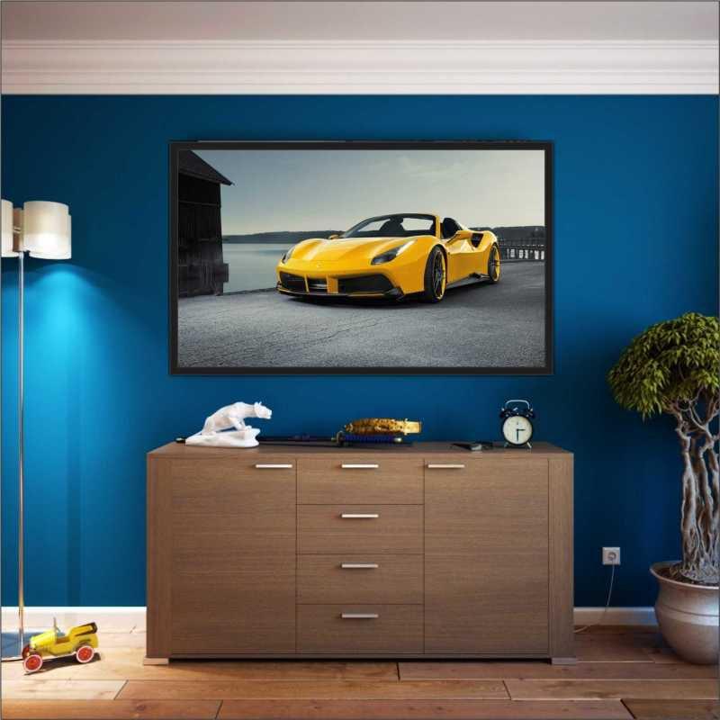 Quadro Decorativo Carros Ferrari Amarela Com Moldura GG - MadeiraMadeira e05e3fa8562