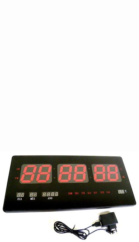 ec691165ca7 Relogio De Parede De Led Digital Com Alarme Data Temperatura (YX-4522) -  MadeiraMadeira