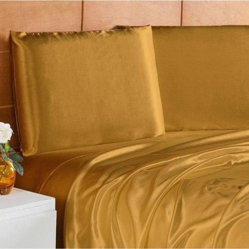 76cb7edc01 Jogo de Lençol Casal Queen Liso Ellegance 04 Peças Tecido Cetim Charmousse  - Dourado Dourado