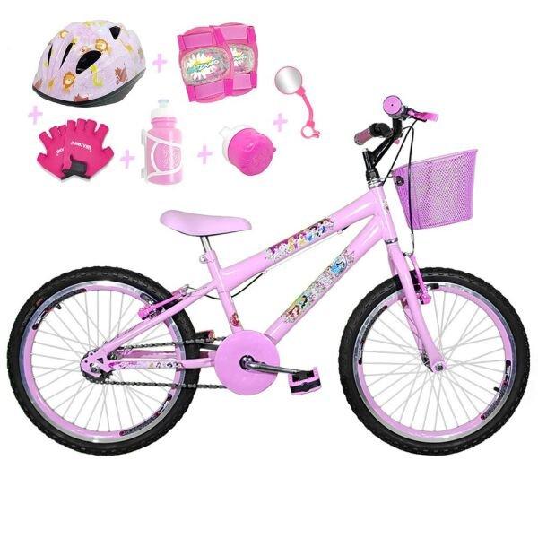 726419df9 Bicicleta Infantil Aro 20 Rosa Bebê Kit E Roda Aero Rosa Bebê C  Capacete E Kit  Proteção
