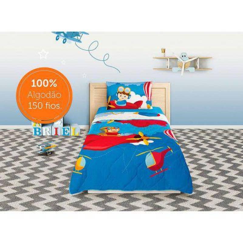 07f7a73bd0 Edredom Solteiro Piloto Estampado 1 peça Azul - Lepper