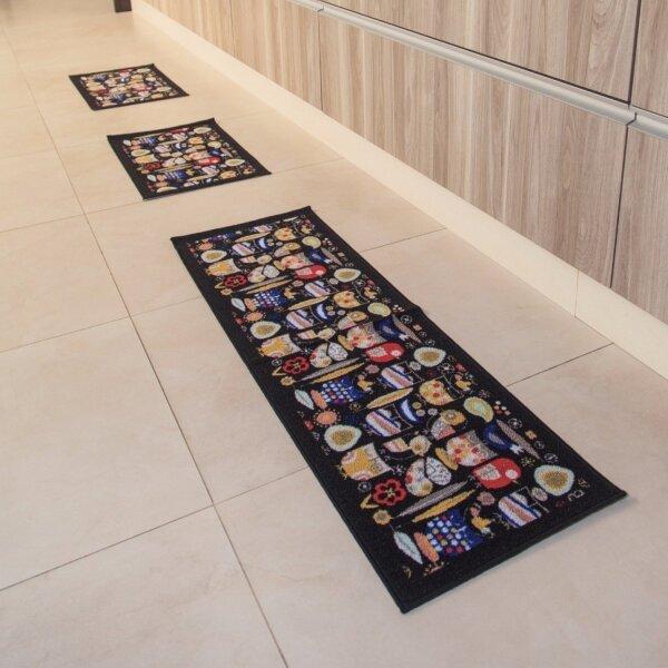 4cfe0bcf5 Jogo de Tapetes para Cozinha 3 Peças Elegance Niazitex Marrom ...