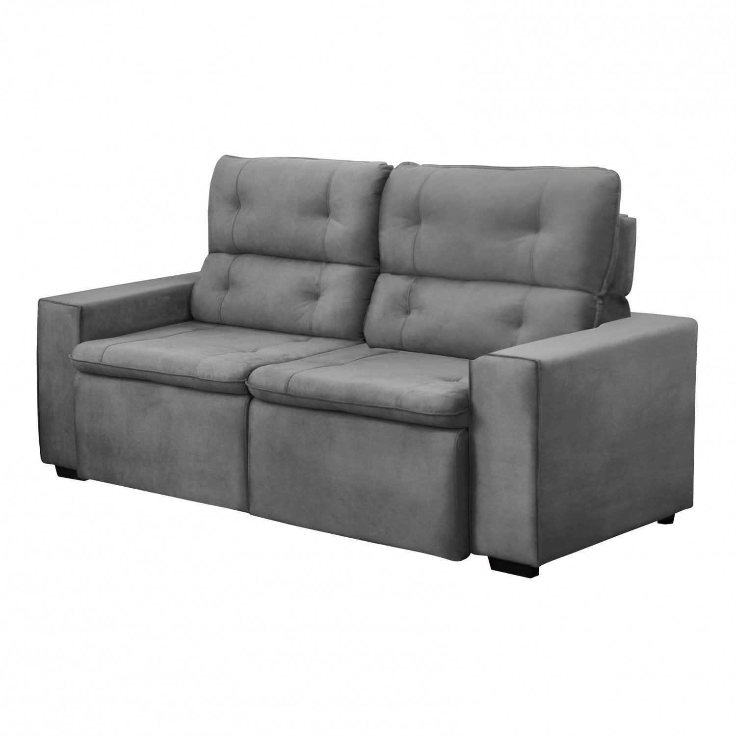 Sofa Retratil E Reclinavel 3 Lugares Angelo 196cm Gralha Azul Cinza