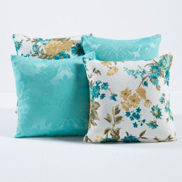 286259d2c5fc51 Kit c/ 4 Almofadas Cheias Decorativas Tiffany Floral 04 Peças c/ Refil