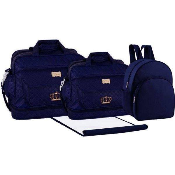 9392b2185 Kit Bolsa Maternidade Trocado Mochila Bebê CMT1009 - Azul Marinho